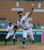 Detroit Tigers Daniel Norris pitches against the Los Angeles Angels during third inning action Tuesday, May 7, 2019 at Comerica Park in Detroit, Mich.