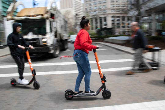 Scooter use can be seen all over downtown Detroit Wednesday, May 8, 2019.