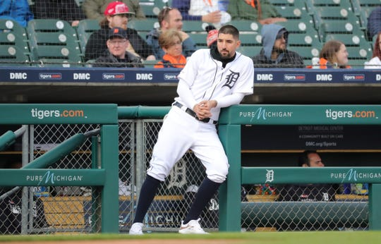 Detroit Tigers right fielder Nicholas Castellanos watches first inning action against the Los Angeles Angels Tuesday, May 7, 2019 at Comerica Park in Detroit, Mich.