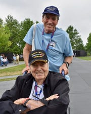 Frank Manchel, bottom, and his son, Bruce Manchel, at the Air Force Memorial in Washington, D.C.