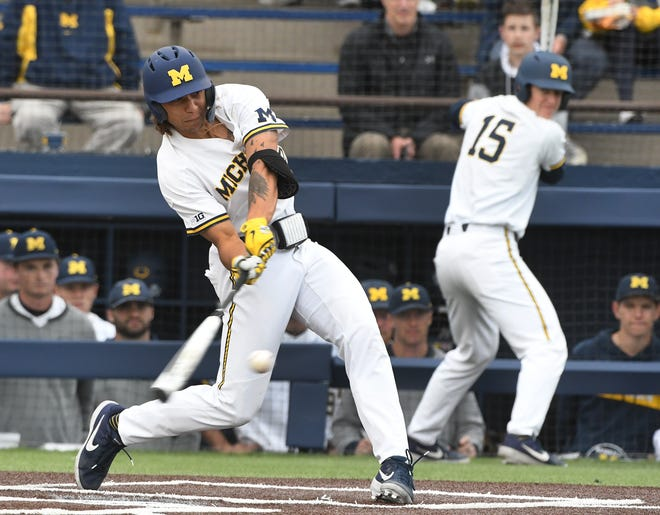 Jordan Brewer, Michigan's star outfielder and this season's Big Ten player of the year, missed the Wolverines' final two games of the Big Ten tournament Saturday because of a flareup to the turf-toe ailment he's been battling for more than a month.