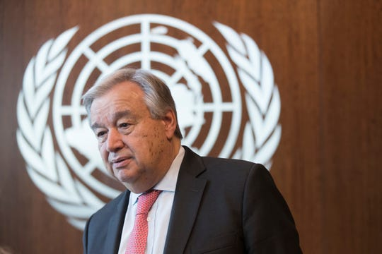United Nations Secretary-General Antonio Guterres is photographed during an interview at United Nations headquarters on Tuesday, May 7, 2019.