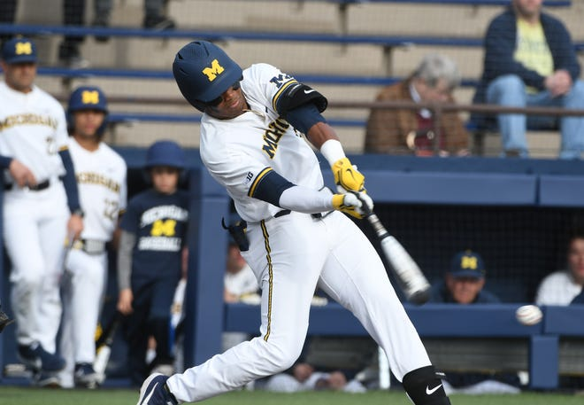 Michigan's Jordan Nwogu, seen here in a file photo, won the game with a walk-off double.