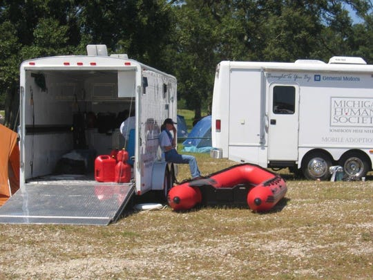 Michigan Humane Society's 20-foot trailers are equipped with rafts, boats and supplies for disasters.