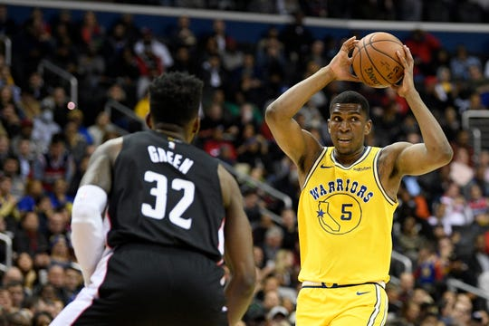 Kevon Looney (5) has seen his playing time and production increase during his four seasons with the Warriors.
