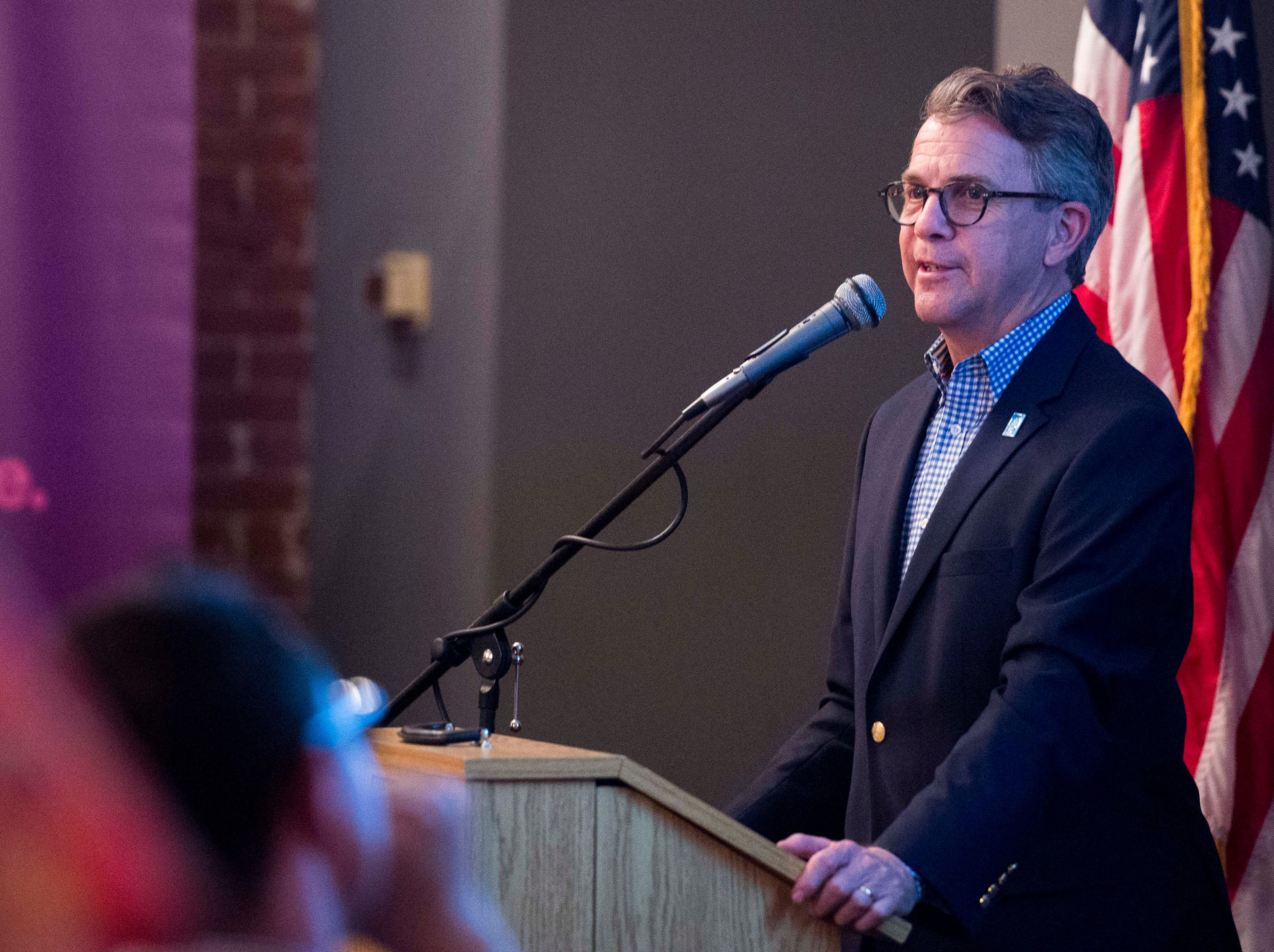 Evansville Mayor Lloyd Winnecke (R), addresses the crowd  to thank his supporters after winning the primary election Tuesday, May 7, 2019.