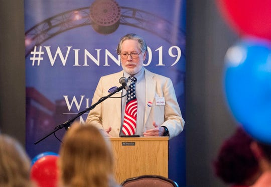 City Council third ward candidate Stephen Melcher (R) address the crowd during the Vanderburgh County Republican Party's watch party at Sauced! restaurant on Haynie's Corner Tuesday, May 7, 2019.