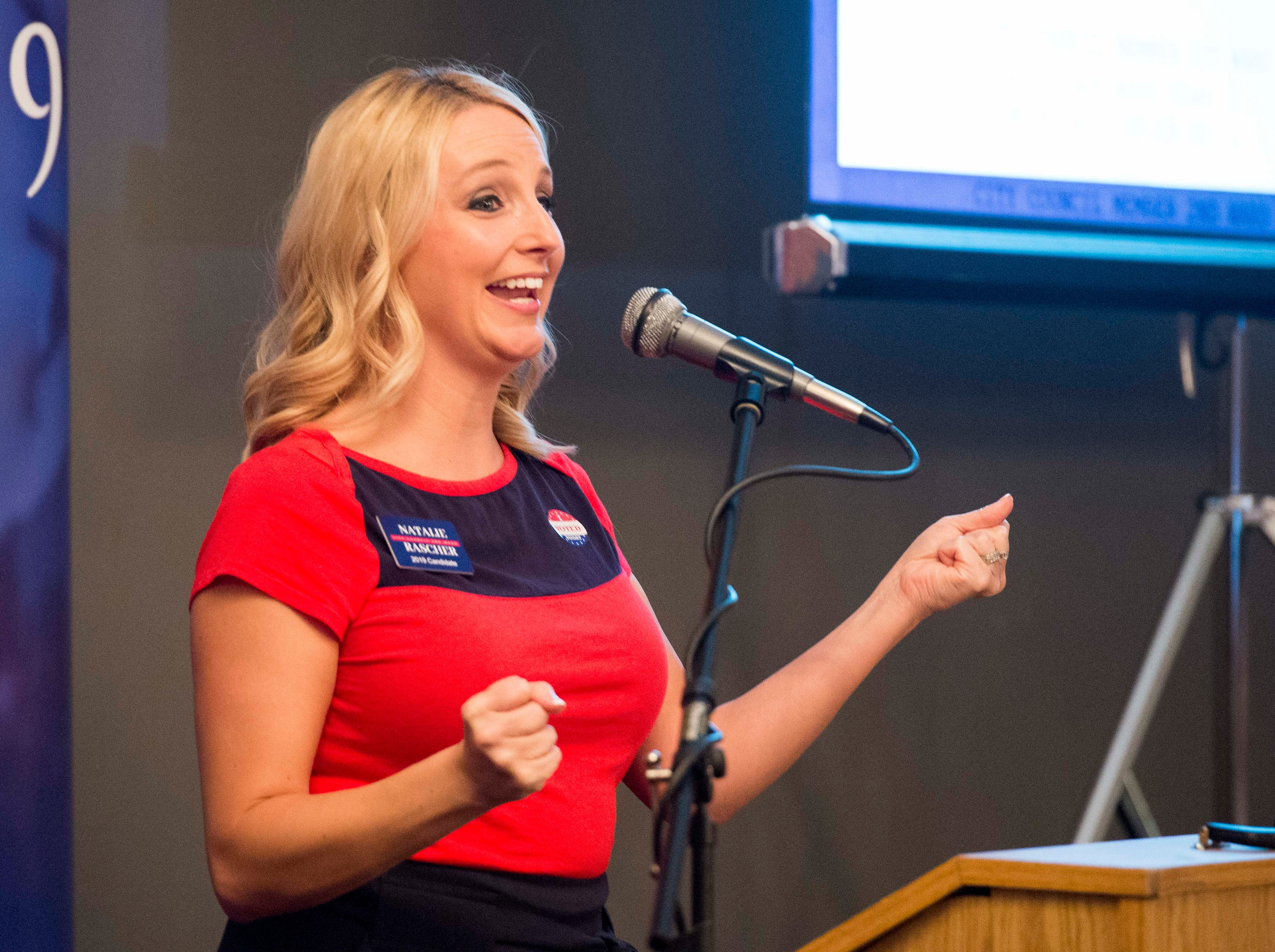 City Council second ward candidate Natalie (R) address the crowd during the Vanderburgh County Republican Party's watch party at Sauced! restaurant on Haynie's Corner Tuesday, May 7, 2019.