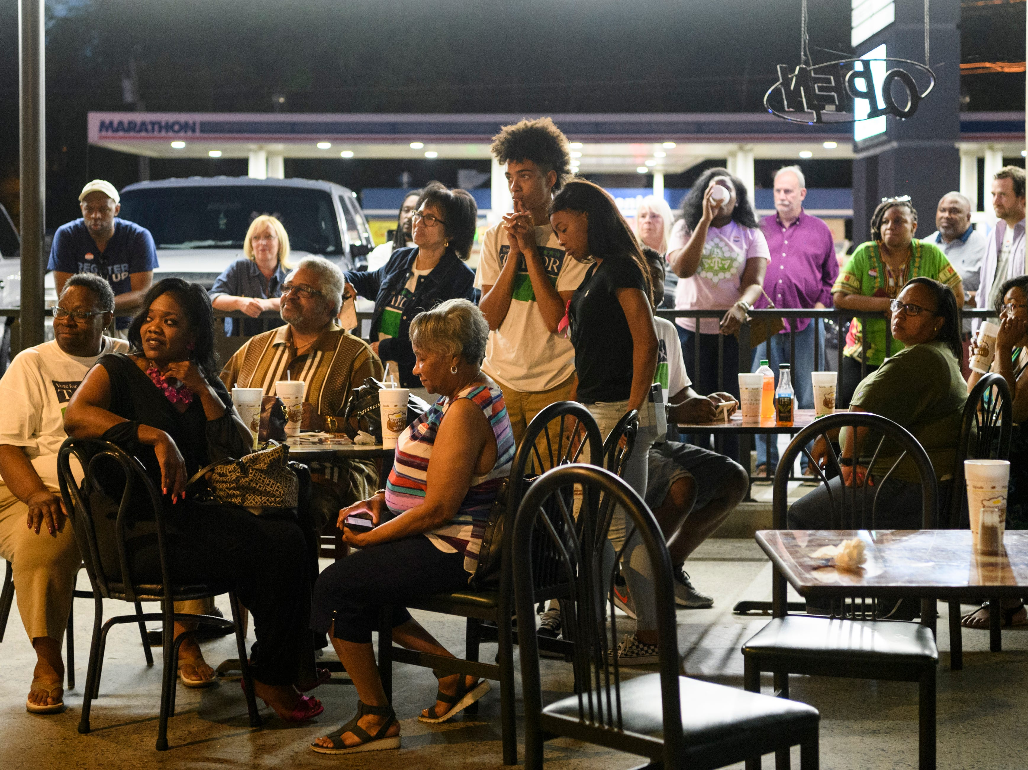 The crowd attending a democratic primary election watch party at Spudz-N-Stuff on Washington Ave. listens to D'Angelo Taylor give his concession speech, Tuesday, May 7, 2019. Taylor lost by 46 votes in a contentious second ward city council race to 12-year incumbent Missy Mosby (not pictured).
