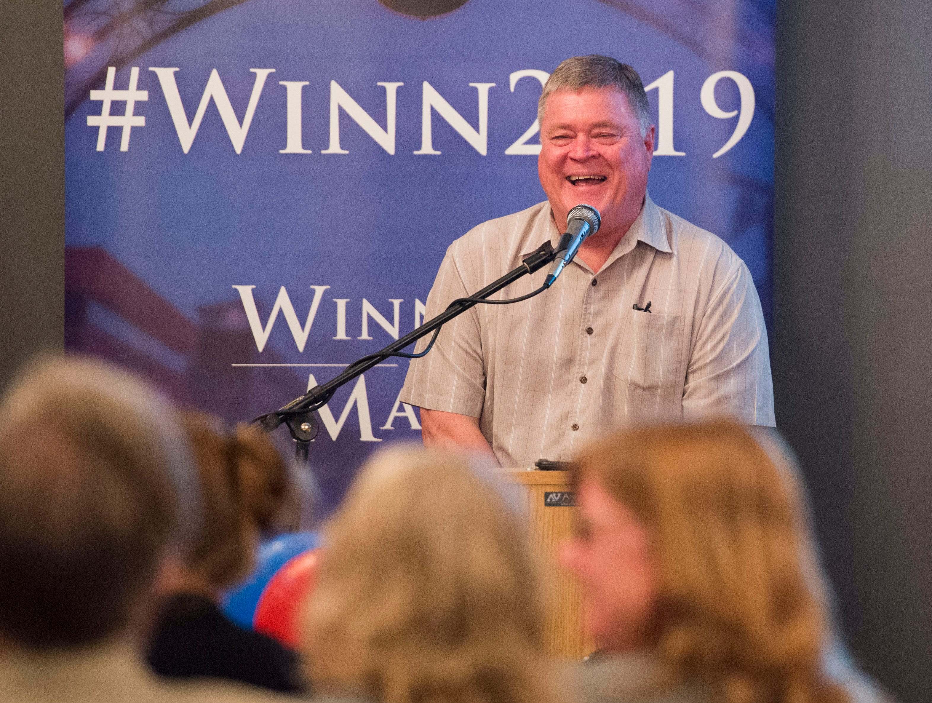 City council at-large candidate Ron Beane (R) address the crowd during the Vanderburgh County Republican Party's watch party at Sauced! restaurant on Haynie's Corner Tuesday, May 7, 2019.