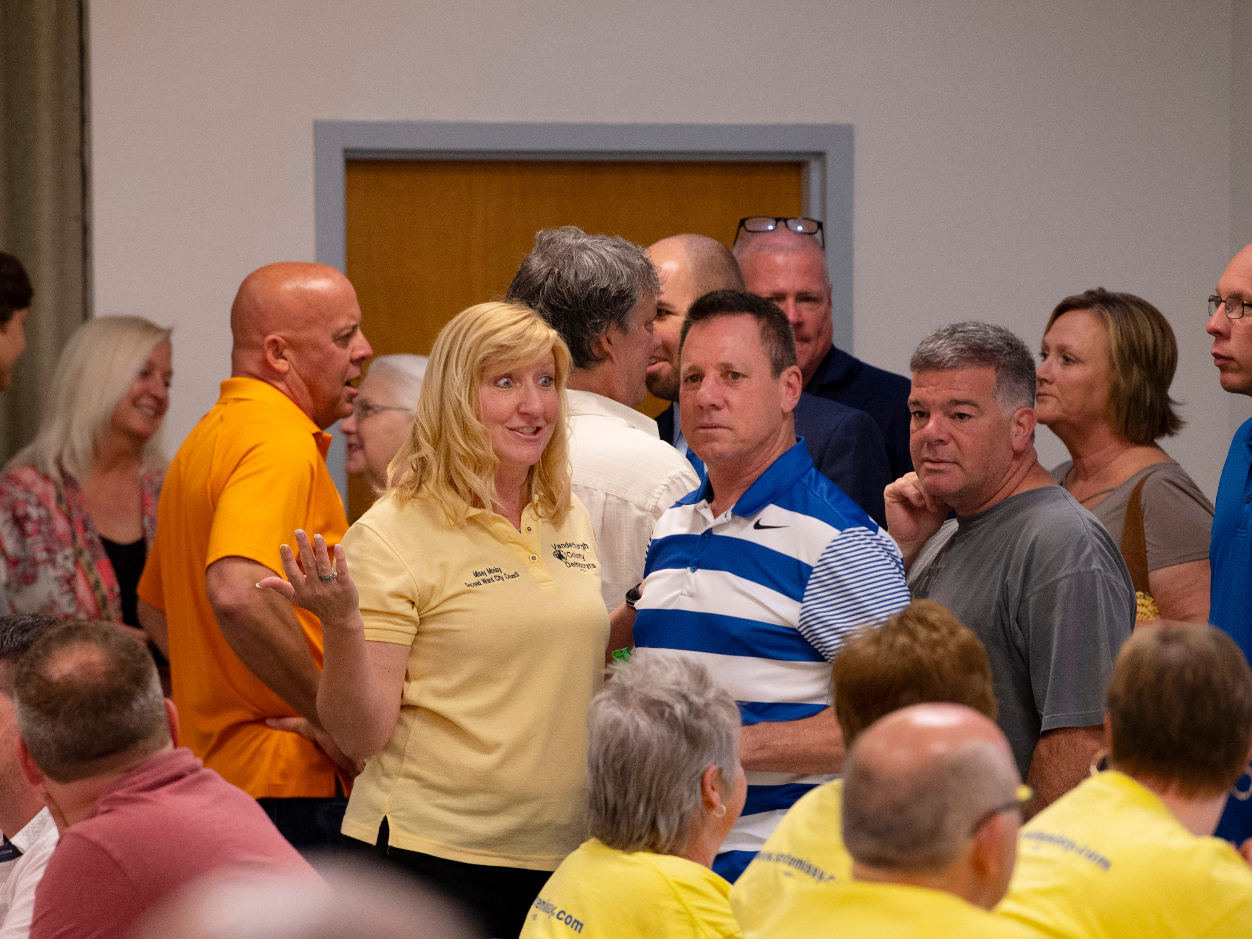 City Council member Missy Mosby (D), left center, and Vanderburgh County Sheriff Dave Wedding were on-hand to await Evansville primary election results at the Fraternal Order of Police Tuesday night. Mosby won the 2nd Ward contest and will face Republican Natalie Rascher in the fall general election.