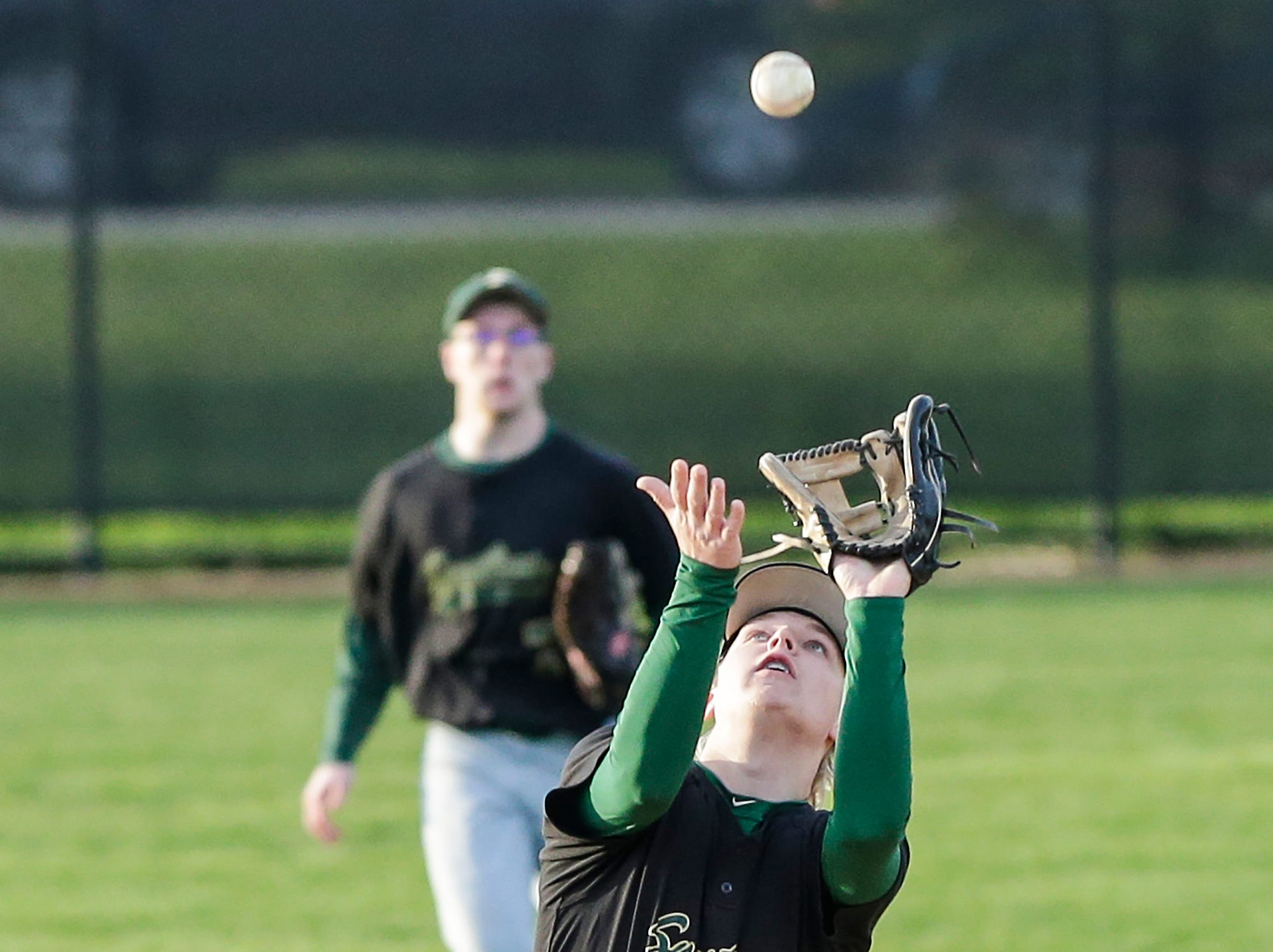 Laconia High School's Will Mattheis catches a fly ball Tuesday, May 7, 2019 against St Mary's Springs Academy during their game in Fond du Lac, Wis. Doug Raflik/USA TODAY NETWORK-Wisconsin