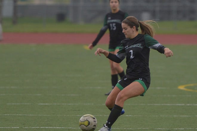 Fossil Ridge High School's Alex Lockwood passes the ball during a first-round playoff win Tuesday, May 7, 2019, over Valor Christian. The SaberCats lost their second-round game Friday to Chatfield, 1-0.