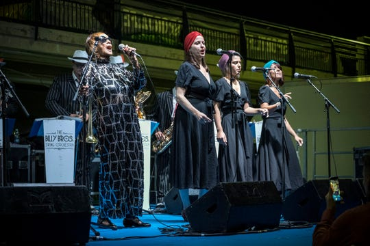 Norma Miller (left) performing with the Billy Bros. Swing Orchestra