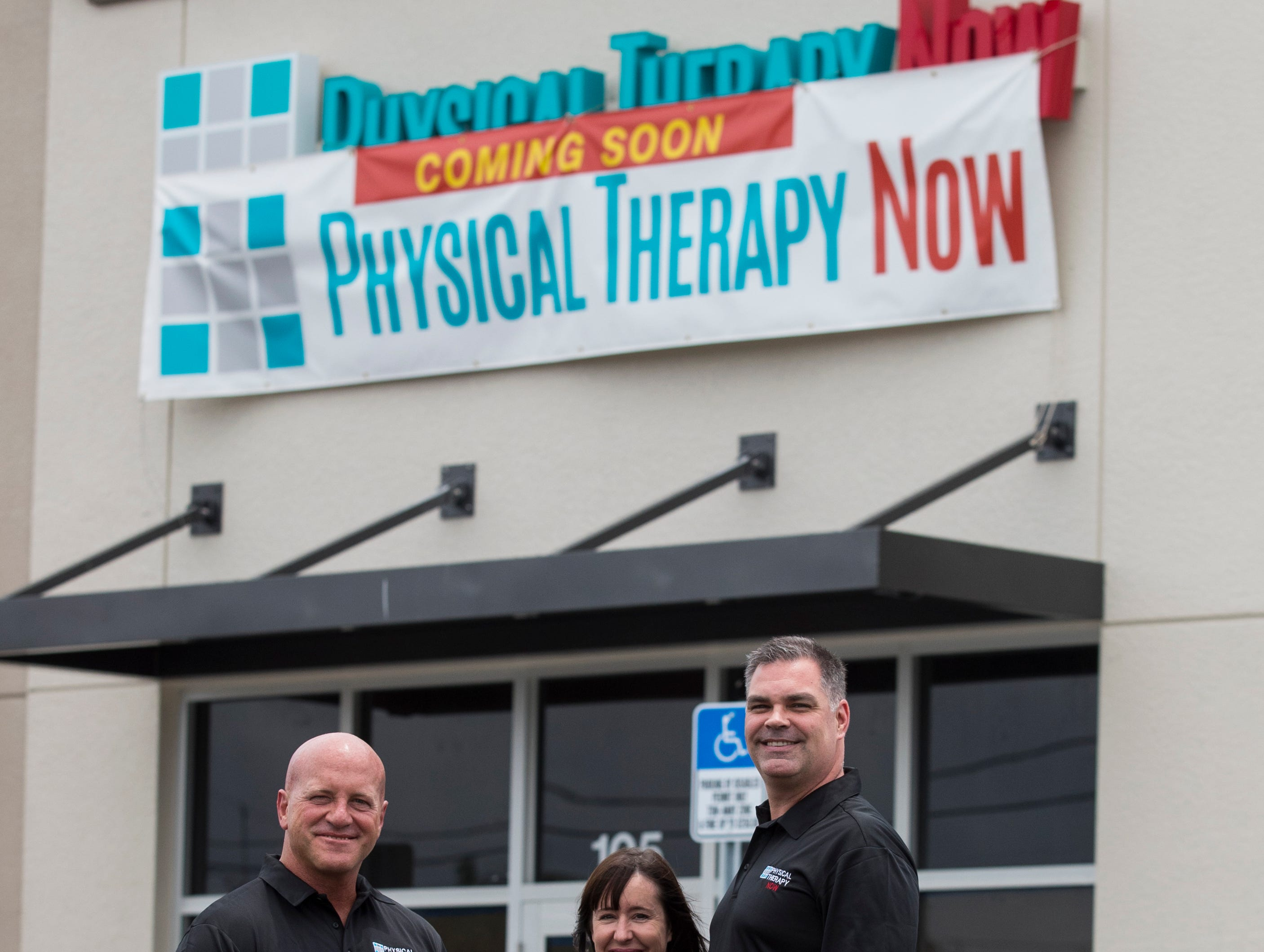 From left, Tom Hafer, Kim Johner and Jeff Johner, pictured here on Monday, May 6, 2019, will partner in developing a new Physical Therapy Now franchise in Cape Coral currently under construction at a new mini mall on the southwest corner of Nicholas Parkway and Pine Island Road. The business is slated to open next month.