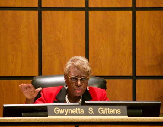 Lee County School Board Chair Gwynetta Gittens speaks at the Lee County School Board meeting on Tuesday, May 7, 2019.
