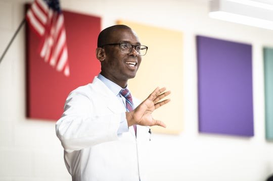 Cedrek McFadden, a colorectal surgeon with Prisma Health, speaks to students at Lead Academy in Greenville Wednesday, May 8, 2019.