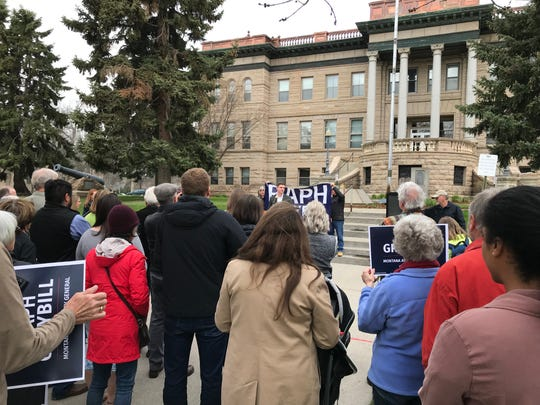 Great Falls native Raph Graybill formally announced on Wednesday his candidacy to become the state's next attorney general at rally in front of a few dozen supporters at the Cascade County Courthouse.