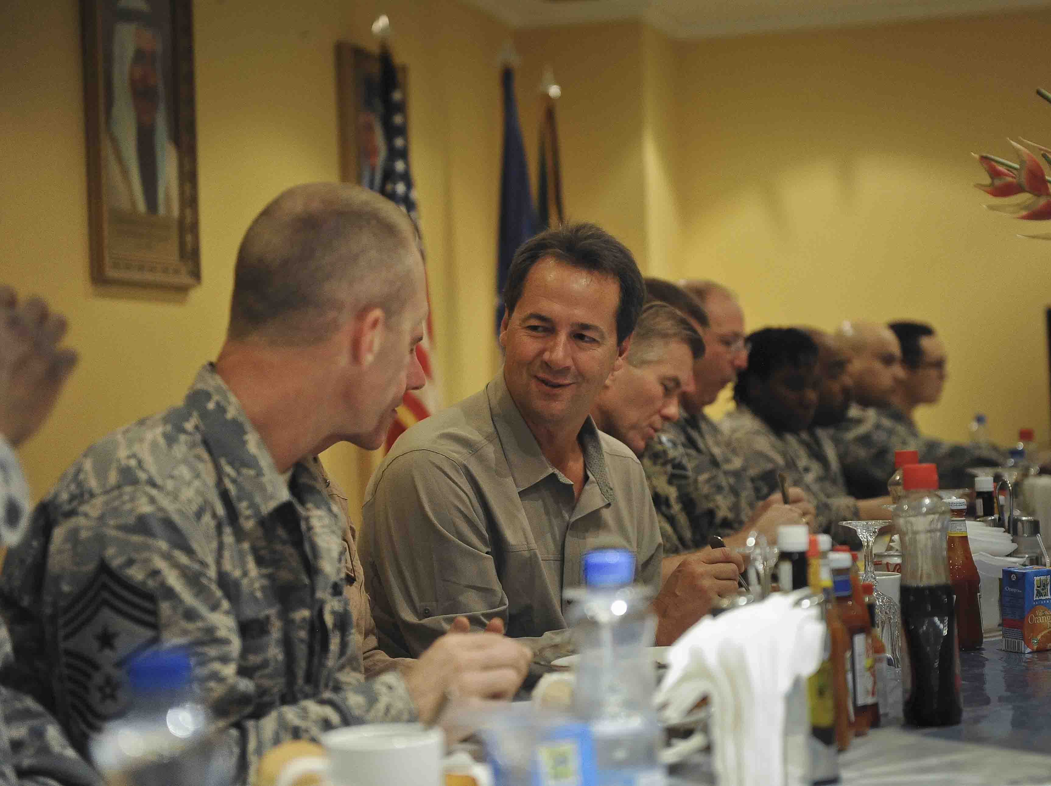 Gov. Steve Bullock visits Ali Al Salem Air Base in Kuwait this week. He¿s also visiting deployed Montana troops in Afghanistan. PHOTO COURTESY OF GOVERNOR'S OFFICE