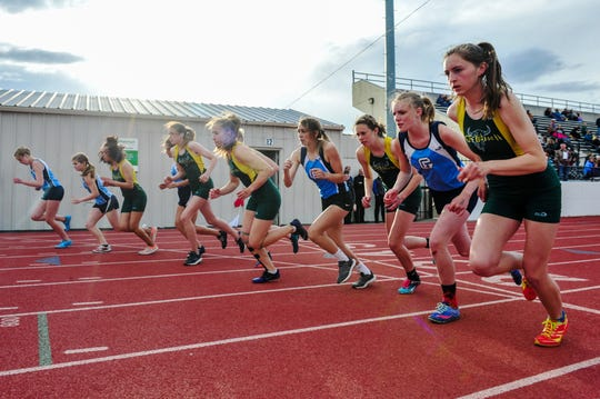 Start of the girls' 800m run during the crosstown track meet between C.M. Russell High and Great Falls High on Tuesday at Memorial Stadium.