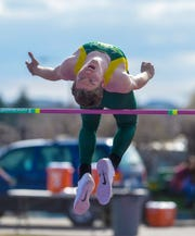 C.M. Russell's Keegan Barnes attempts 6' in the crosstown track meet between C.M. Russell High and Great Falls High earlier this month at Memorial Stadium.