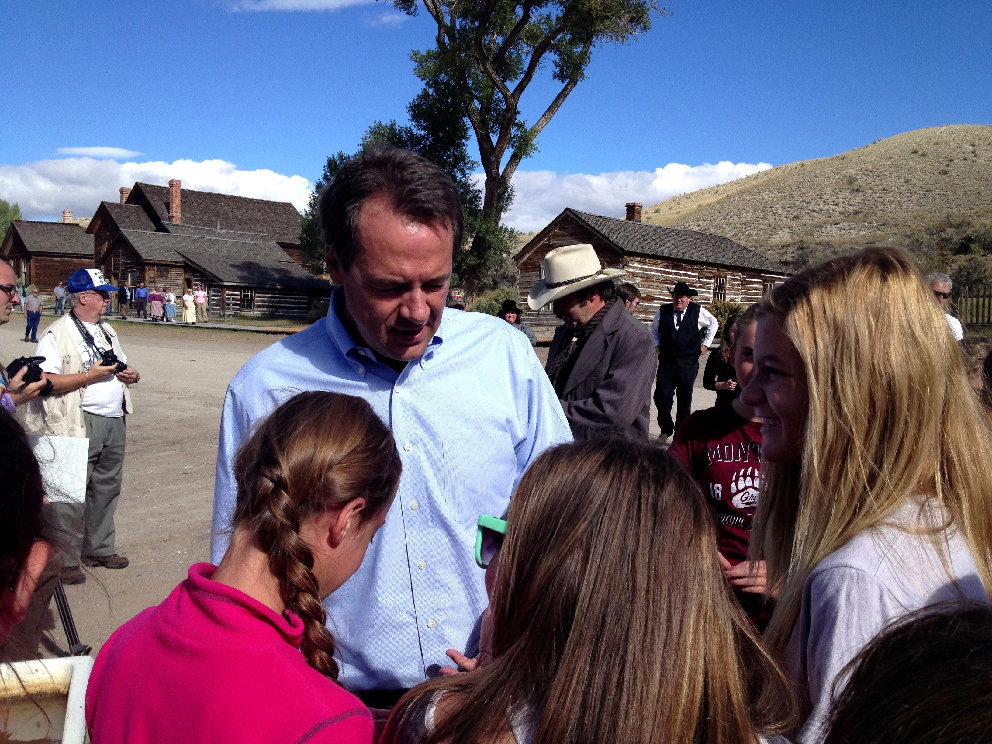 Gov. Steve Bullock talks to a group of students from on Dillon Monday at Bannack State Park. The park reopened Monday morning after being closed for seven weeks due to a flash flood that damaged most of the ghost town. TRIBUNE PHOTO/ERIN MADISON Gov. Steve Bullock talks to a group of students from Dillon Monday at Bannack State Park. The park reopened Monday morning after being closed for seven weeks due to a flash flood that damaged most of the ghost town. TRIBUNE PHOTO/ERIN MADISON