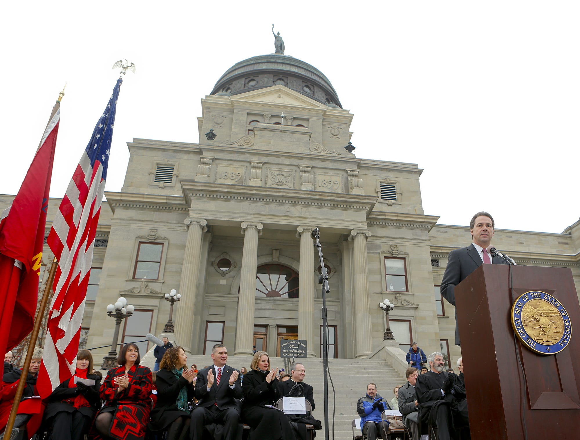 Montana Gov. Steve Bullock speaks during inauguration at the state Capitol in January. Lawmakers had until the end of today to vote on whether to override 19 bill vetoes by Bullock.  TRIBUNE PHOTO/LARRY BECKNER Steve Bullock makes his first speech as governor during Monday's Inauguration ceremony at the State Capitol.  TRIBUNE PHOTO/LARRY BECKNER