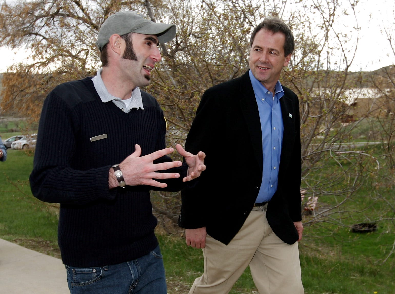 Park Manager Jarret Kostrba gives a tour of Pictograph Cave State Park to Montana Gov. Steve Bullock on Monday, April 29, 2013. Bullock signed a bill into law Monday that creates a new Montana State Parks and Recreation Board separate from the Montana Fish, Wildlife and Parks Commission. Photo courtesy of Montana State Parks