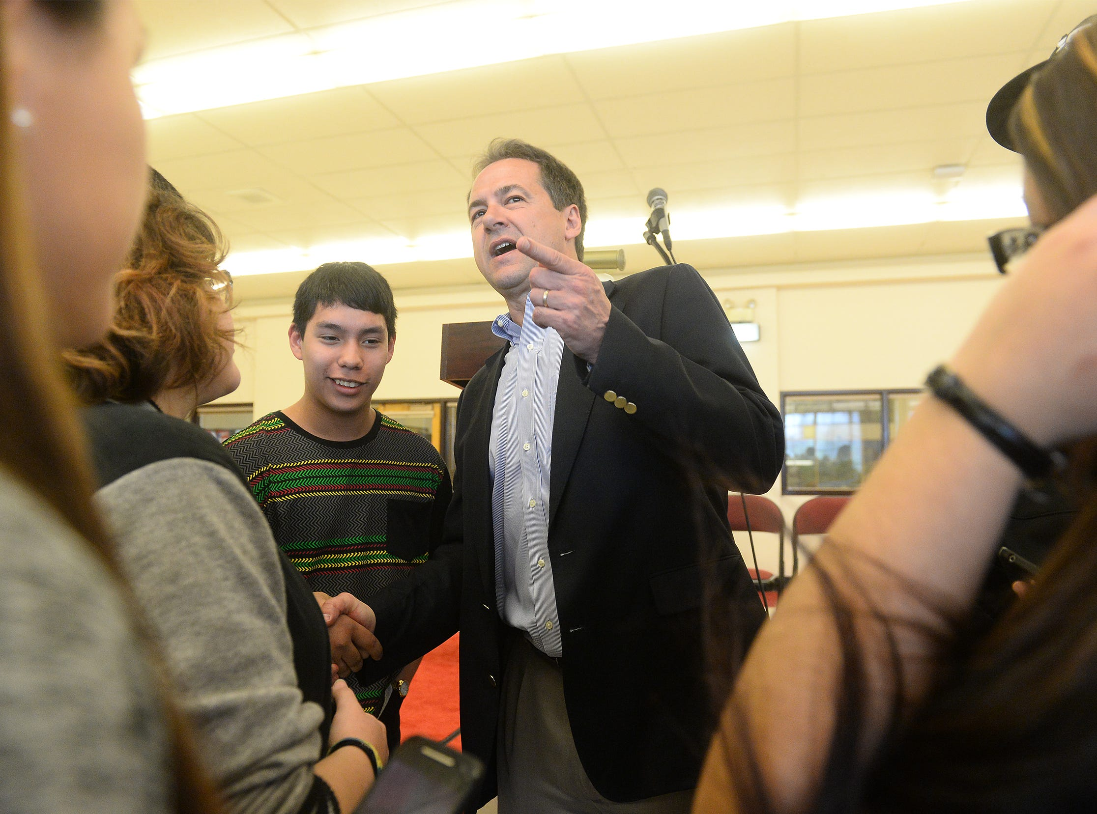 TRIBUNE PHOTO/RION SANDERS Gov. Steve Bullock meets with students at the Montana Native Youth Conference on Friday morning at Paris Gibson Education Center. Gov. Steve Bullock meets with students at the Montana Native Youth Conference on Friday morning at Paris Gibson Education Center.