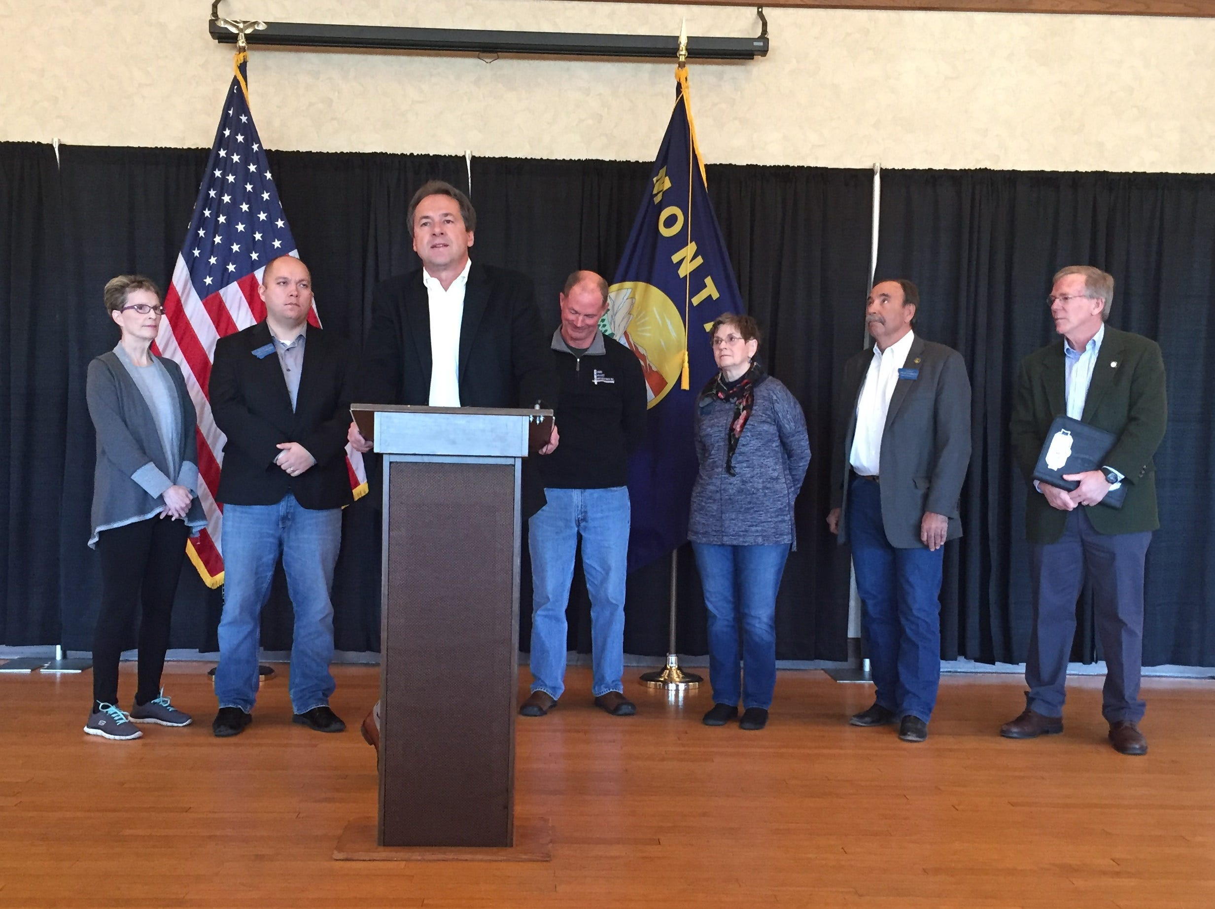 TRIBUNE PHOTO/KRISTEN INBODY Gov. Steve Bullock outlines his proposal for infrastructure spending during the next biennium and a trust fund that would provide for future projects.