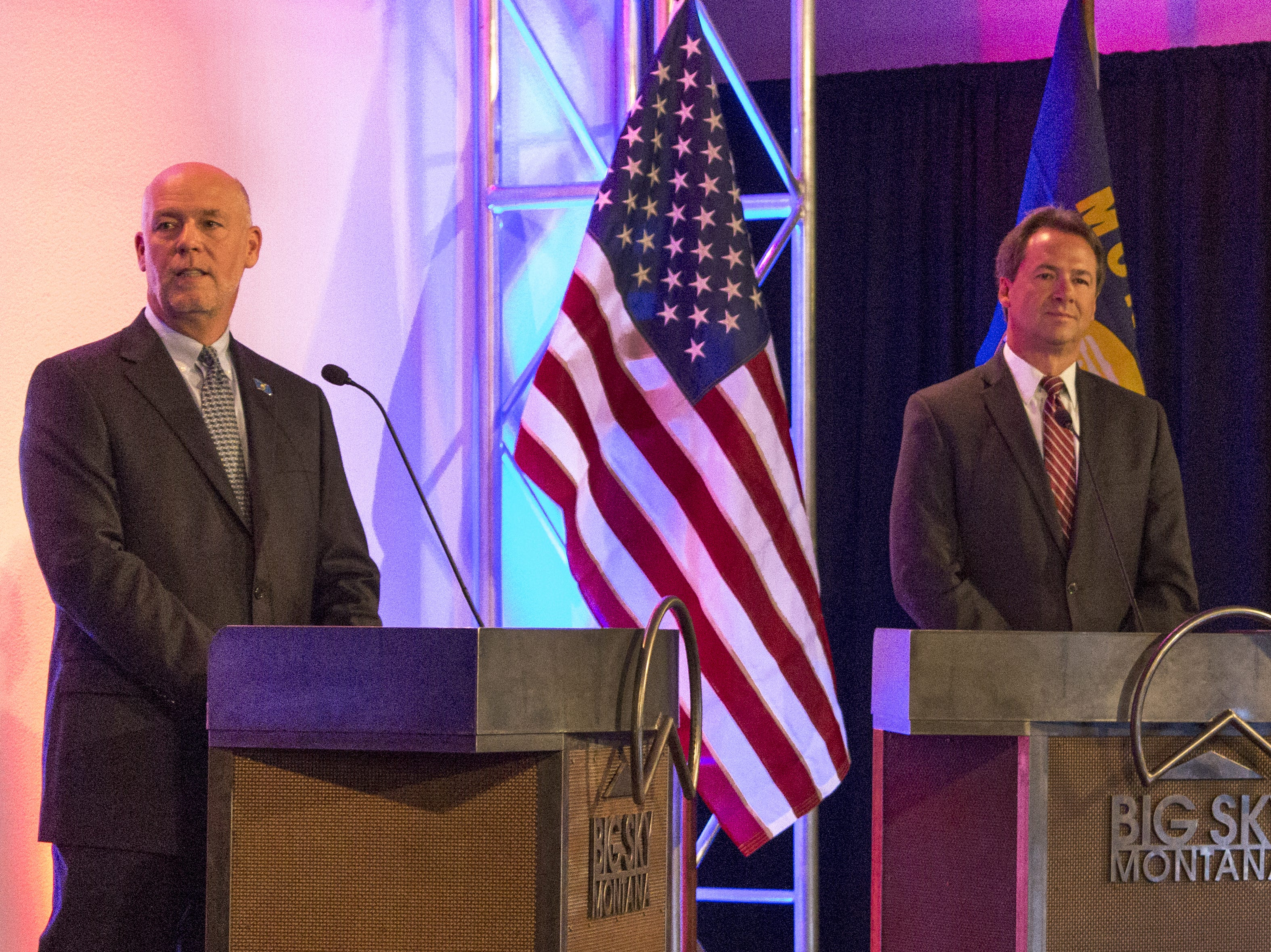 AP Photo/Bobby Caina Calvan, File  Montana Gov. Steve Bullock, right, and his Republican challenger, Greg Gianforte, take part in their first debate in Big Sky on Sunday. FILE - In this June 26, 2016, file photo, Montana Gov. Steve Bullock, right, and his Republican challenger, Greg Gianforte take part in their first debate of the campaign season in Big Sky, Mont. In his bid for Montana governor, Bozeman entrepreneur Greg Gianforte has given his campaign more than $500,000 and more of his personal wealth could stream into his campaign as the Republican ramps up his effort to unseat Gov. Steve Bullock and pours more money into expensive television spots and other advertising. (AP Photo/Bobby Caina Calvan, File)
