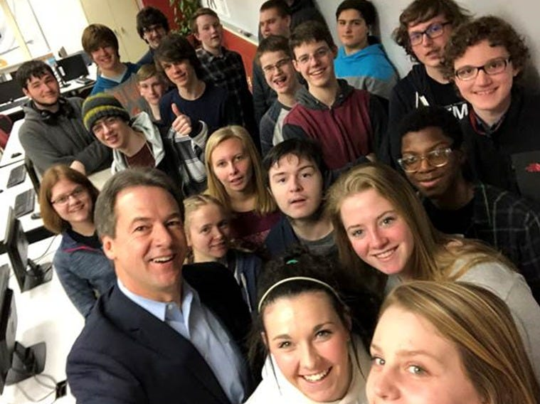 """Gov. Steve Bullock takes a ?selfie? with Helena High School students Monday after announcing internet neutrality policy.  Courtesy Gov. Steve Bullock takes """"selfie"""" with Helena High School students Monday after announcing internet neutrality policy."""