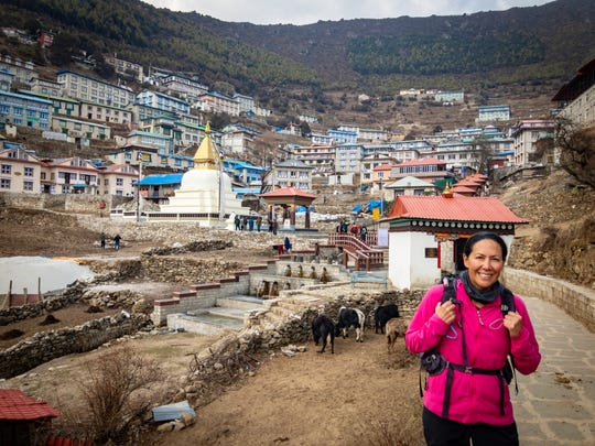 Tiffany Materne Kemppainen shares a photo from before her climb to the base camp of Mount Everest. She attained the 17,600-foot point after 10 days of hiking in late March.