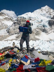 Tiffany Materne Kemppainen shares a photo from the base camp of Mount Everest. She attained the 17,600-foot point after 10 days of hiking in late March.