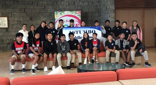 Astumbo Middle School's 2019 Stock Market Game team consisting of Jerisha Taimanglo, Danalen Tydingco, Francisben Olandez, and Josiah Techaira, finished first place in the 2019 Stock Market Game sponsored by Asia Pacific Financial Management Group.  Father Duenas Memorial School finished second and Upi Elementary took third place. An awards banquet was held on April 26 at the Pacific Star Hotel to honor all the teams from the different schools who participated. Pictured: From left to right (front): Rodleyson Salvador, Tiarah Muna, Fernancio Garcia, Ellison Quitano, Jason Pangelinan, Jeisha Taimanglo, Danalen Tydingco, Ethan Huffman, Josiah Techaia, and Axle Teves. Back row from left: Eiscelle Paulino (advisor), Norilyn Espijo, Georgia Castro, Brandon Benavente, Derrick Calumaya, Craig Brewer, Francisben Olandez, Frank Ambunan, Kyle Esguerra, Jave Natividad, Marco Pangilinan, and Jane Quitano (advisor).