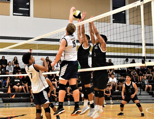 The Harvest Christian Academy Eagles are headed to the IIAAG Boys Volleyball championship after a thrilling five-set win against the Tiyan Titans Tuesday at Tiyan.