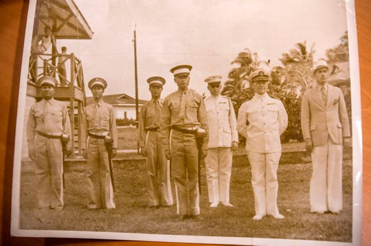 An undated photo of Guam Militia members in formation with the military and civilian leaders, courtesy of the family of Juan Indalecio Salas.