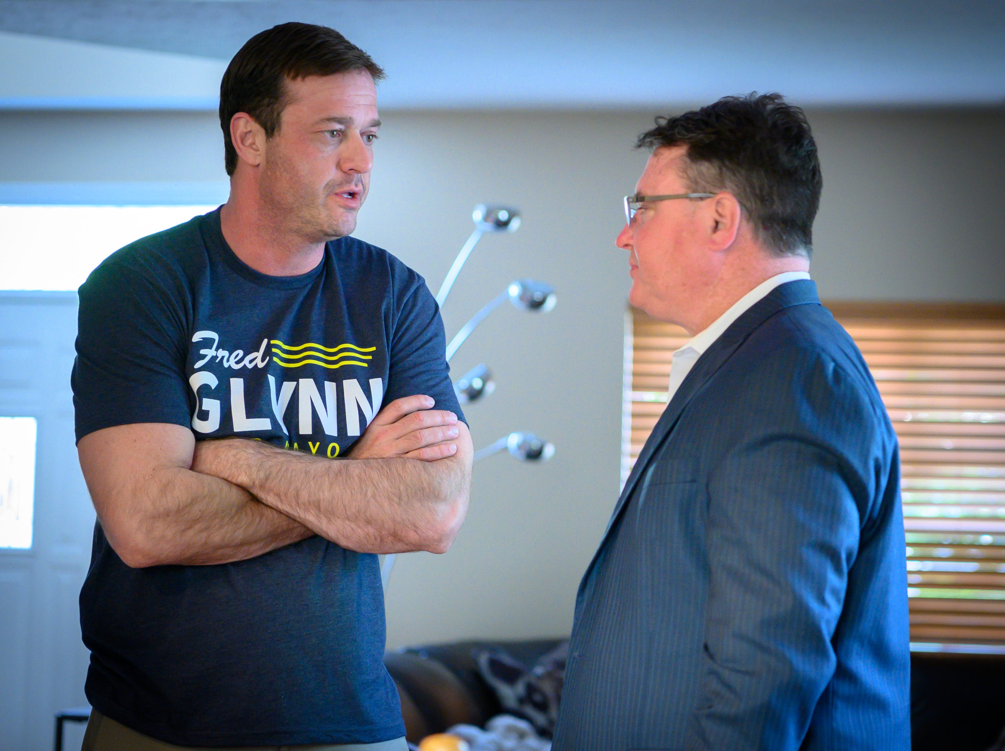 Fred Glynn talks with former congressman Todd Rokita as family, friends and supporters gathered at the home of the Carmel mayoral candidate while election results were publicized, Tuesday, May 7, 2019. Glynn campaigned for the office in hopes of unseating incumbent Jim Brainard who was seeking his seventh term in the office.