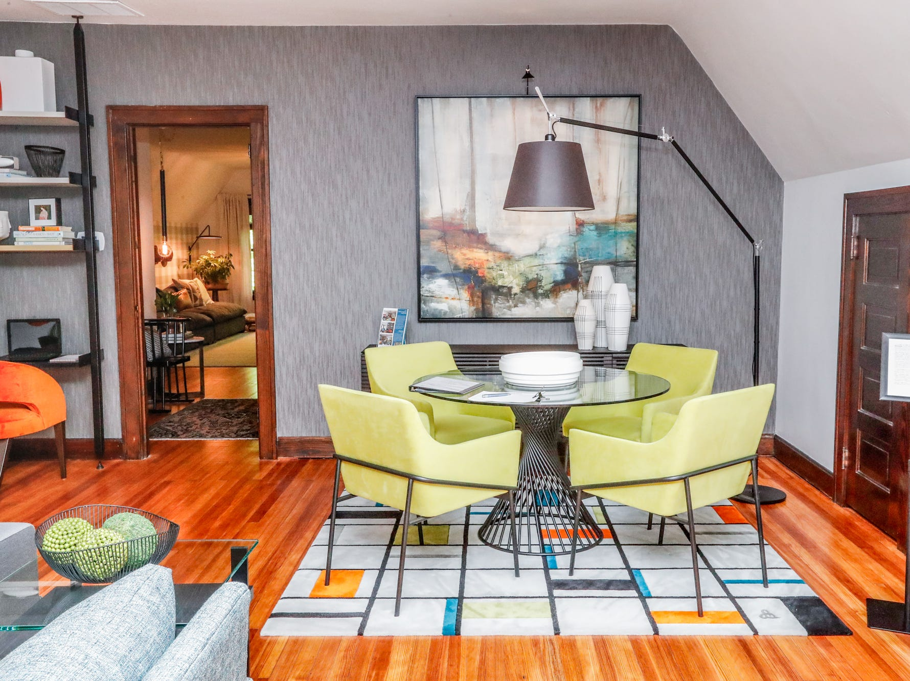 """The """"Modern Composition Family Room, designed by Brian McIntosh and Tessie Ayres of Houseworks, inside the 58th annual St. Margaret's Hospital Guild Decorators' Show House and Gardens, located at 4160 Washington Blvd., Indianapolis, on Wednesday, May 8, 2019."""