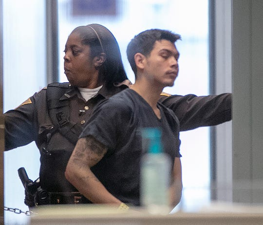 Alfredo Vazquez is taken to a courtroom Wednesday, May 8, 2019, after his arrest in connection with the May 1, 2019, shootings of two judges in Indianapolis. Vazquez is Brandon Kaiser's nephew.