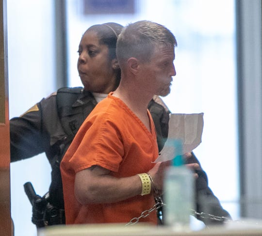 Brandon Kaiser is taken to a courtroom Wednesday, May 8, 2019, after his arrest in connection with the May 1, 2019, shootings of two Clark County, Indiana, judges.