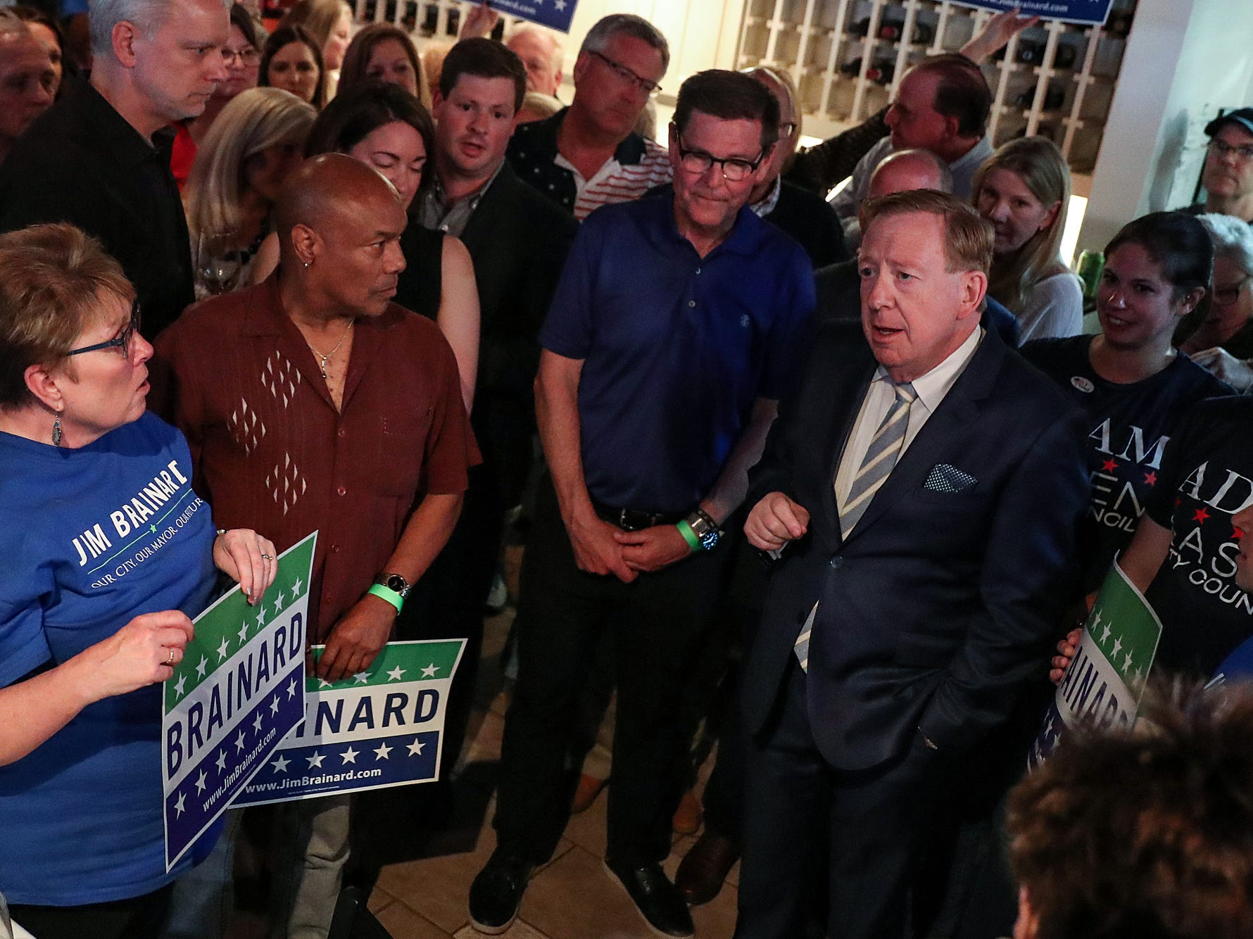 Jim Brainard talks to supporters after clinching the Republican primary nomination for Carmel Mayor at DonatelloÕs Italian Restaurant in Carmel, Ind., Tuesday, May 7, 2019. This is Brainard's seventh term nomination in the Republican primary, defeating challenger Fred Glynn.