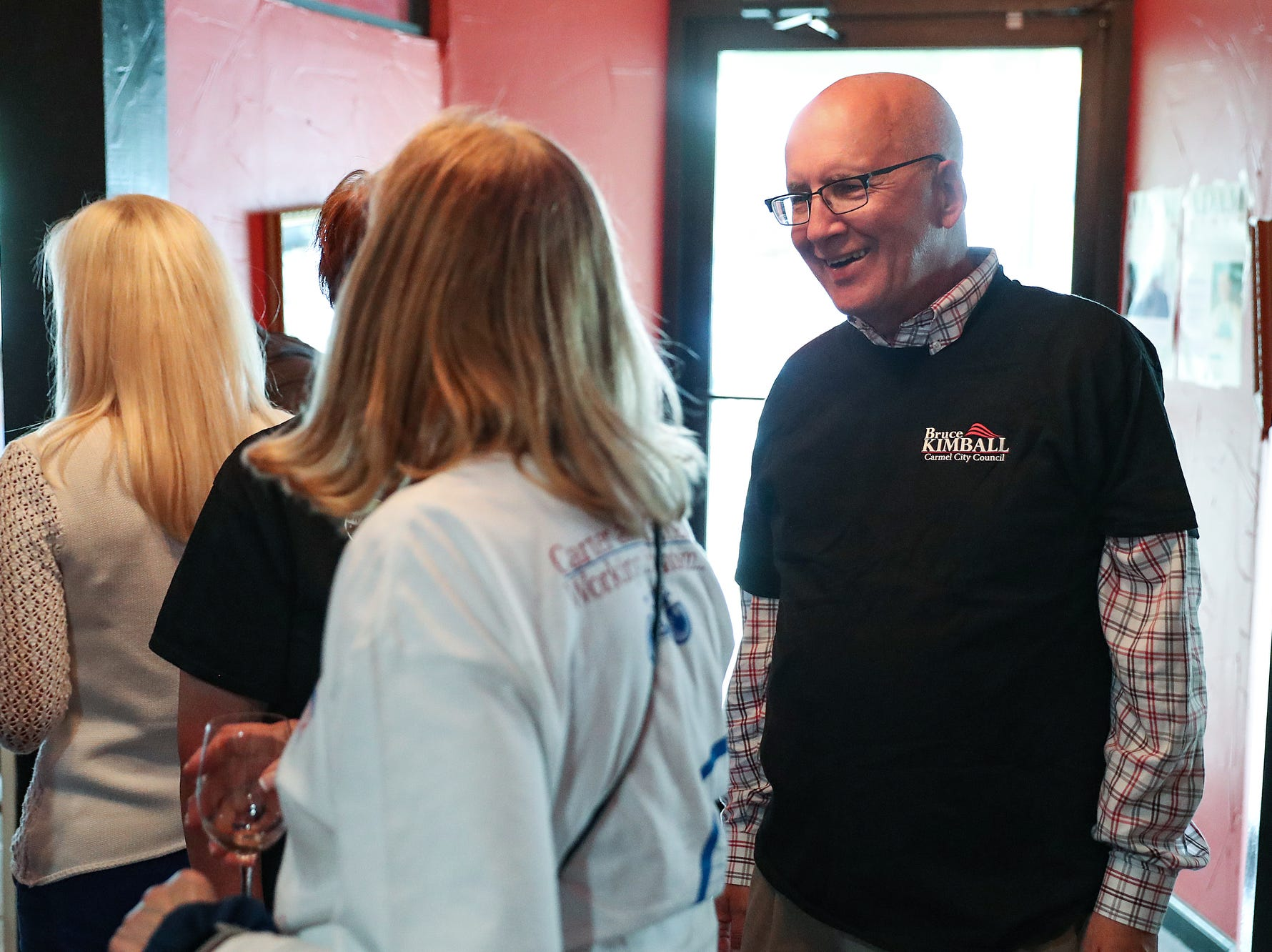 Carmel city council member Bruce Kimball greets supporters and friends at an election watch party for Carmel Republican candidates at DonatelloÕs Italian Restaurant in Carmel, Ind., Tuesday, May 7, 2019.