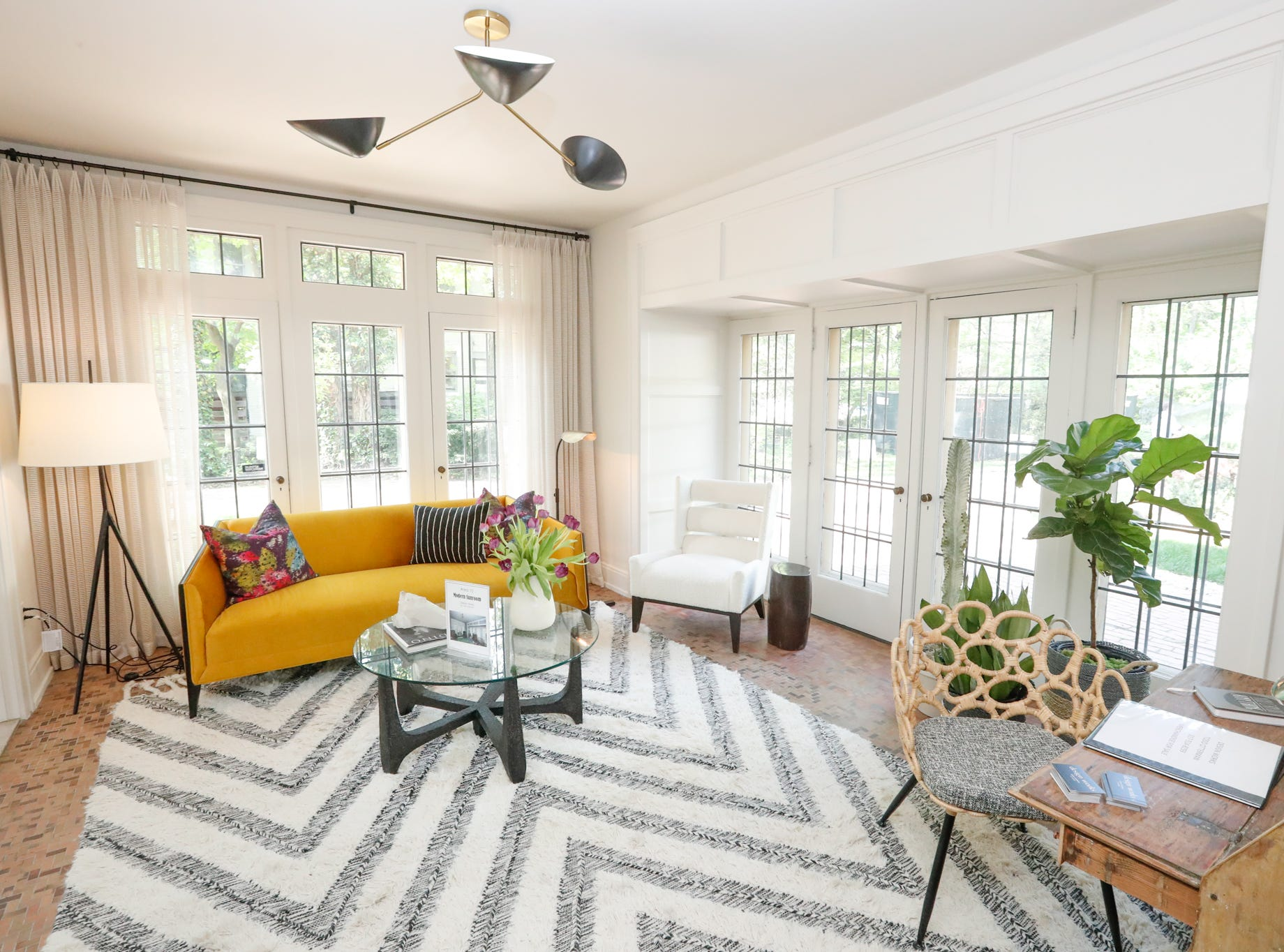 """The """"Modern Sunroom"""", designed by Todd Otterman, of Design Works, inside the The 58th annual St. Margaret's Hospital Guild Decorators' Show House and Gardens, located at 4160 Washington Blvd., Indianapolis, on Wednesday, May 8, 2019."""