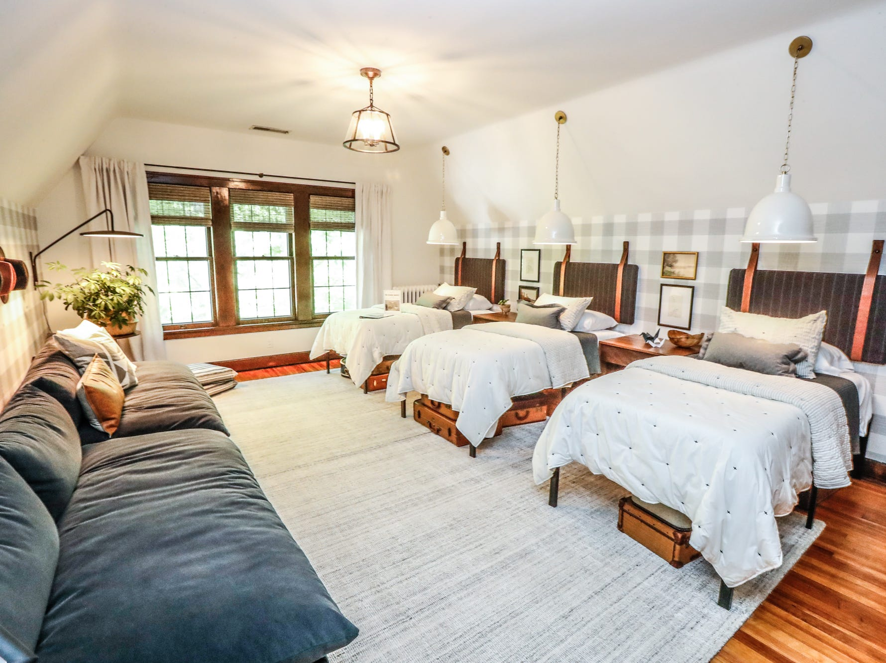 """The """"Sleeping Quarters"""", designed by Sunshine Brooks, Emily Pribble, and Jennifer Finn, of Shine Design, inside The 58th annual St. Margaret's Hospital Guild Decorators' Show House and Gardens, located at 4160 Washington Blvd., Indianapolis, on Wednesday, May 8, 2019."""