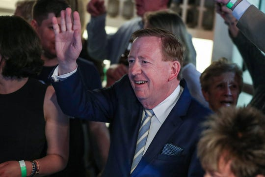 Jim Brainard celebrates as he clinches the Republican primary nomination for Carmel Mayor at DonatelloÕs Italian Restaurant in Carmel, Ind., Tuesday, May 7, 2019. This is Brainard's seventh term nomination in the Republican primary, defeating challenger Fred Glynn.