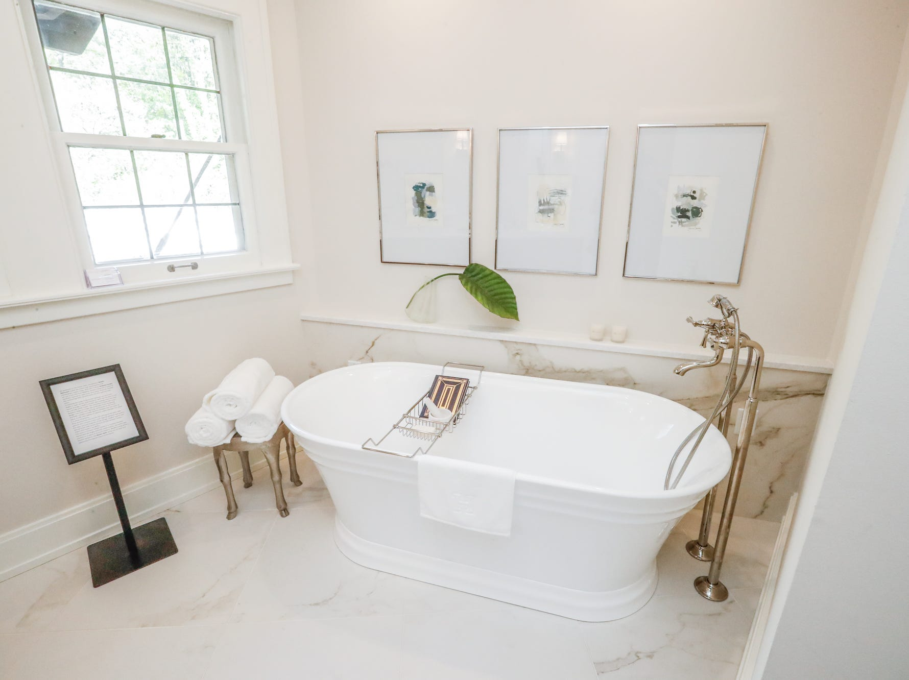 """The """"Master Bath"""" designed by Ashley Bedwell and Robert Bose, of Rowland Design Inc., inside The 58th annual St. Margaret's Hospital Guild Decorators' Show House and Gardens, located at 4160 Washington Blvd., Indianapolis, on Wednesday, May 8, 2019."""