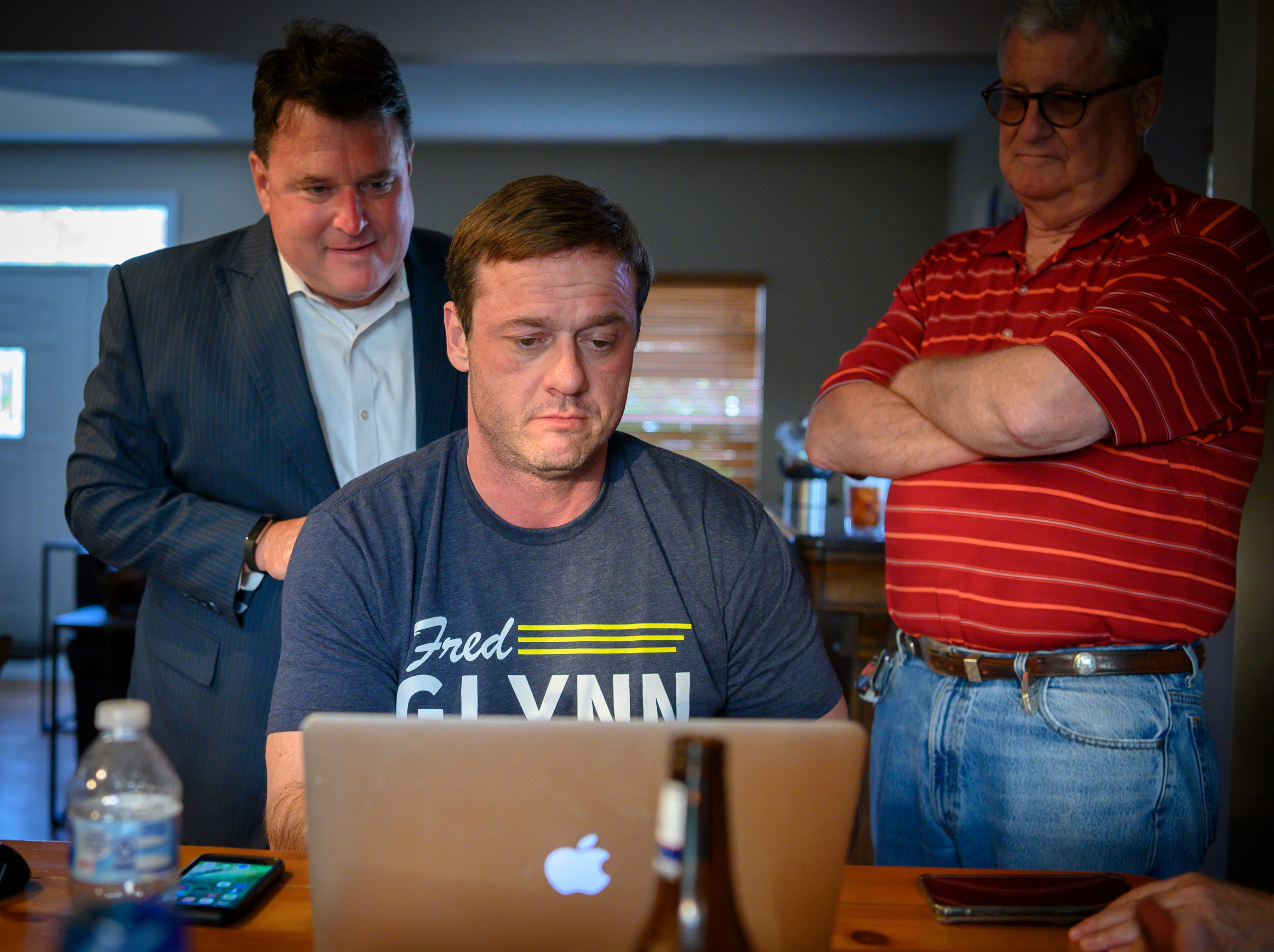 Fred Glynn watches for poll results on his computer. Family, friends and supporters gathered at the home of the Carmel mayoral candidate as election results were publicized, Tuesday, May 7, 2019. Glynn campaigned for the office in hopes of unseating incumbent Jim Brainard who was seeking his seventh term in the office.