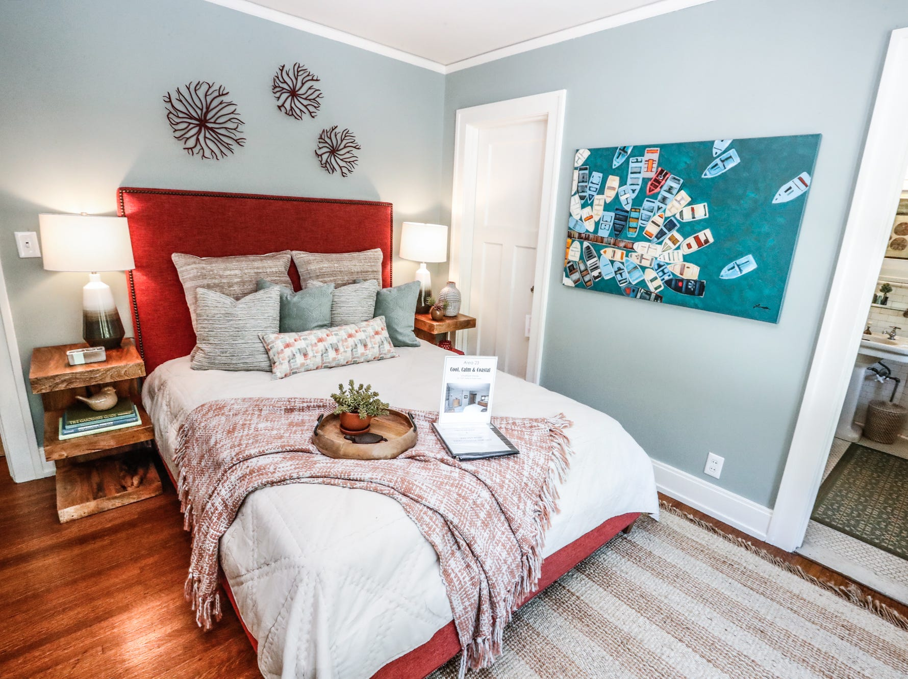 """The """"Cool, Calm, and Coastal"""" room, designed by Faith Felder and Hope Harsin, of Chatham Home, inside the 58th annual St. Margaret's Hospital Guild Decorators' Show House and Gardens, located at 4160 Washington Blvd., Indianapolis, on Wednesday, May 8, 2019."""