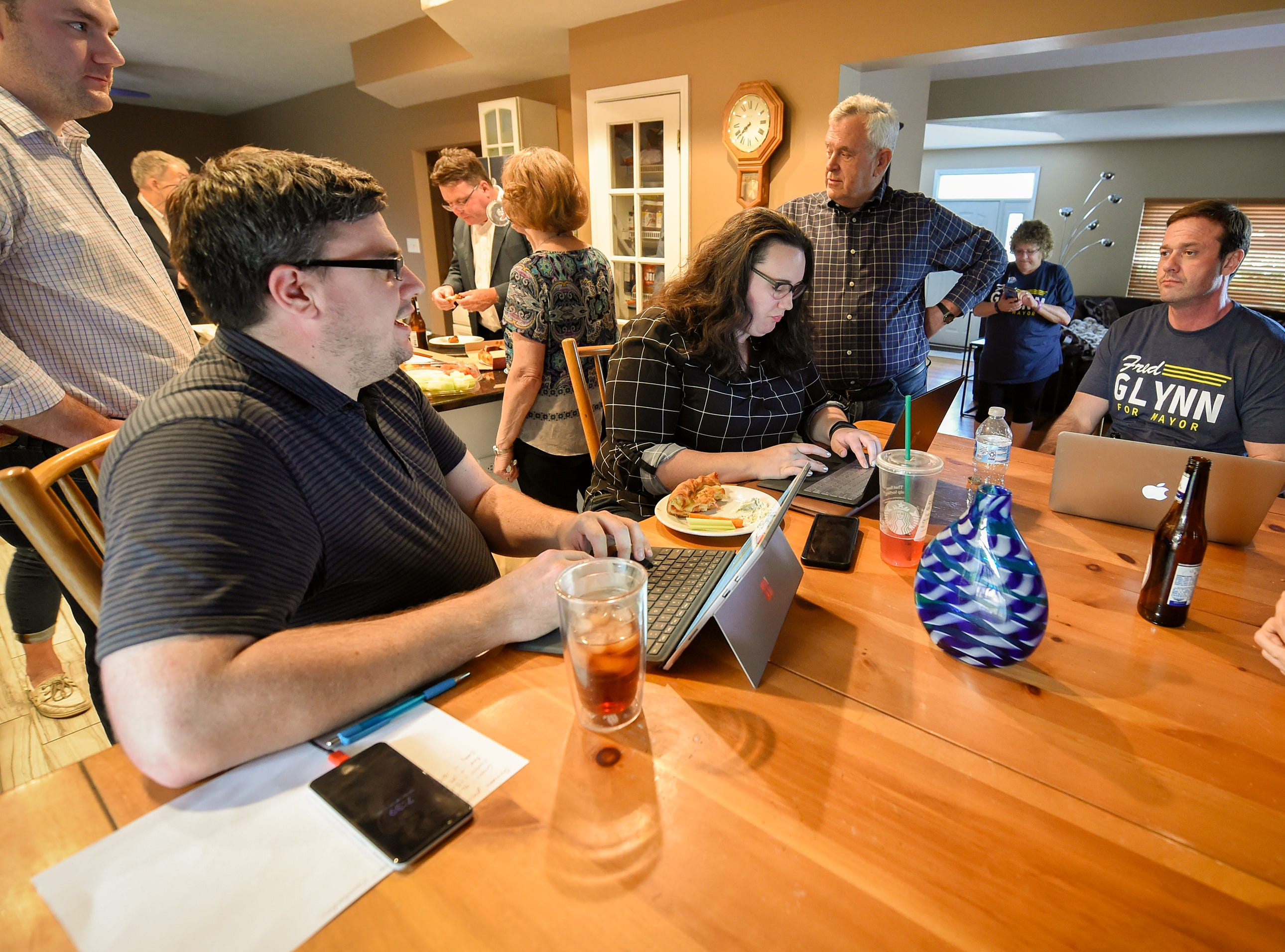 Family, friends and supporters gathered at the home of Fred Glynn, Carmel mayoral candidate as election results were publicized, Tuesday, May 7, 2019. Glynn campaigned for the office in hopes of unseating incumbent Jim Brainard who was seeking his seventh term in the office.